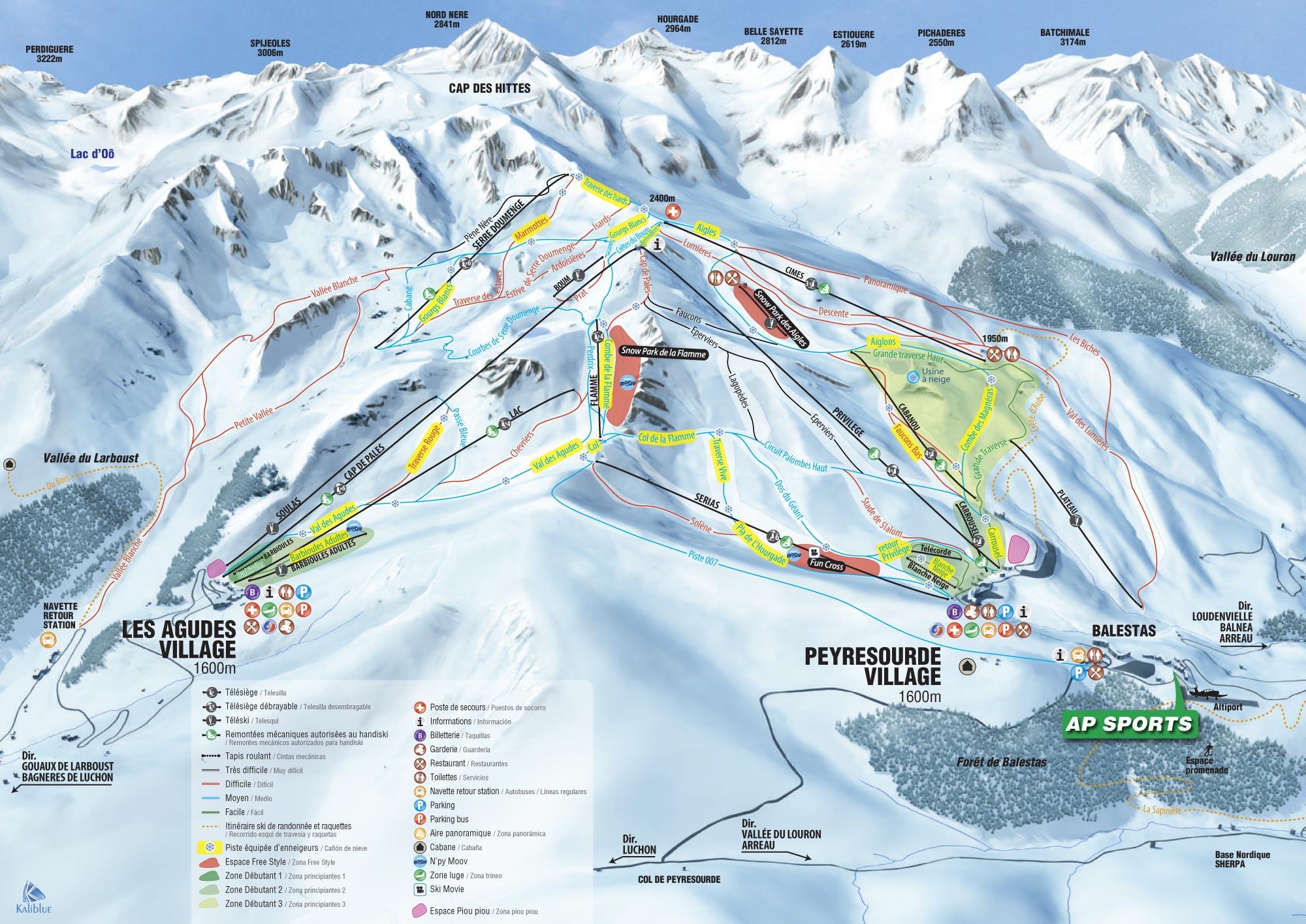 Peyragudes - mapa de las pistas de esquí
