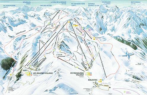 Peyragudes - pistas esquiables - plan de las pistas de esquí